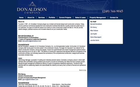 Screenshot of About Page jbdonaldson.com - Construction Management Farmington Hills MI - captured Oct. 3, 2014