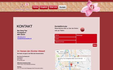 Screenshot of Contact Page bansongthai.ch - Kontakt Restaurant Ban Song Thai Zürich - captured March 28, 2017