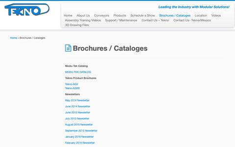 Screenshot of Services Page tekno.com - Brochures / Cataloges – Tekno - captured Oct. 20, 2018