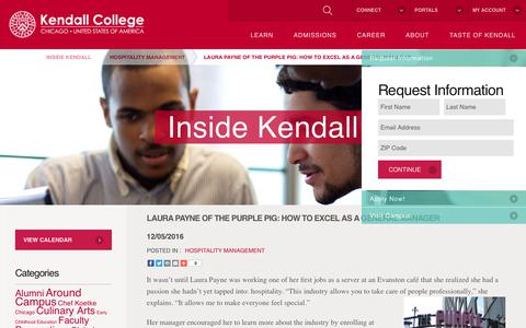 Screenshot of Blog kendall.edu - Laura Payne of The Purple Pig: How to Excel as a General Manager - Kendall College - captured July 23, 2017
