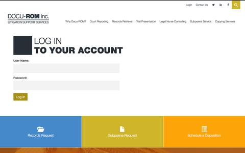 Screenshot of Login Page docurominc.com - Log In To Your Account | Docu-ROM, Inc. - captured Jan. 7, 2016