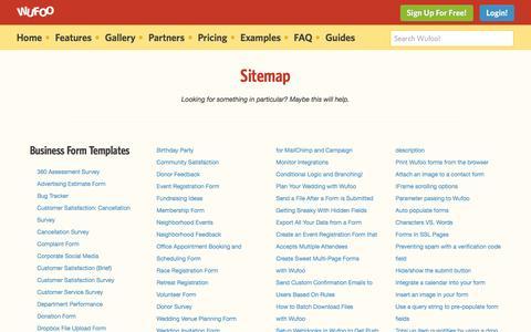 Screenshot of Site Map Page wufoo.com - Sitemap | Wufoo - captured Feb. 4, 2017