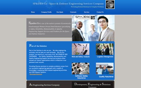 Screenshot of Home Page spadesco.com - Space & Defense Engineering Services Company, LLC - captured Oct. 6, 2014