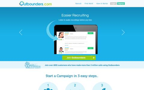 Screenshot of Home Page outbounders.com - Outbounders - World's Largest Outbound Marketing Company - captured Sept. 19, 2014