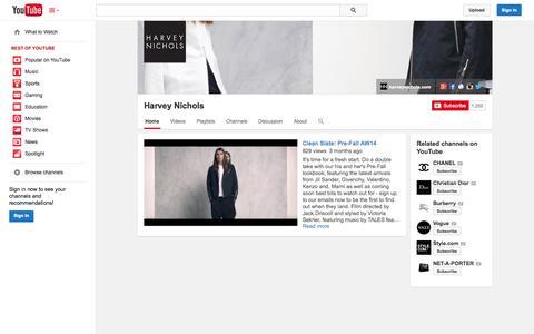 Screenshot of YouTube Page youtube.com - Harvey Nichols  - YouTube - captured Oct. 22, 2014