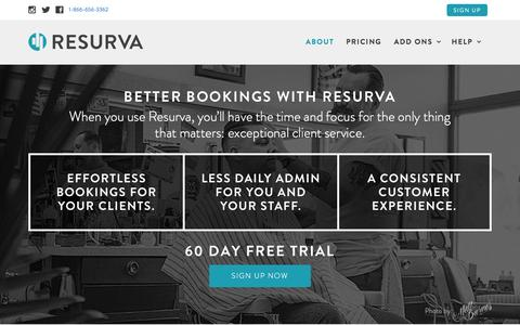 Screenshot of Home Page resurva.com - Resurva manages barbershop appointments and more! - captured Jan. 18, 2016