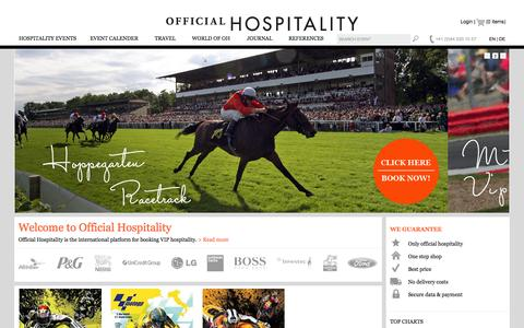 Screenshot of Home Page official-hospitality.com - Official Hospitality - captured Oct. 7, 2014