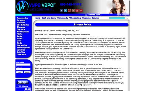 Screenshot of Privacy Page vypevapor.com - Vype Vapor - Privacy Policy - captured Oct. 7, 2014