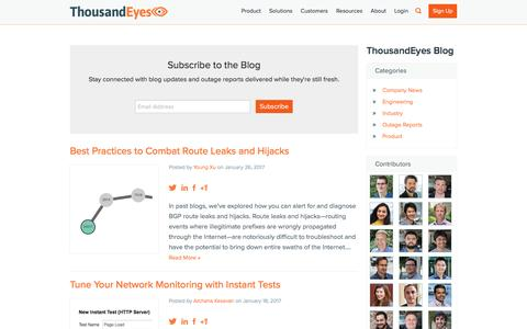 Screenshot of Blog thousandeyes.com - Blog | ThousandEyes | Network Monitoring Software - captured Feb. 3, 2017