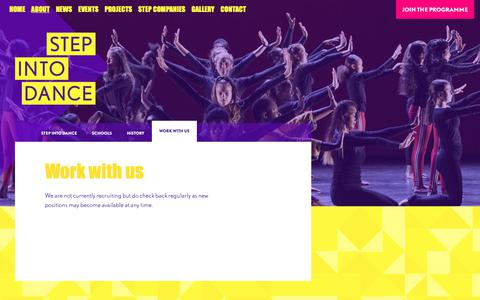 Screenshot of Jobs Page stepintodance.org - Work with Us - Step Into Dance - captured Oct. 26, 2018