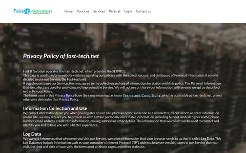Screenshot of Privacy Page weebly.com - Privacy Policy - FAST I.T SOLUTION - captured July 9, 2018