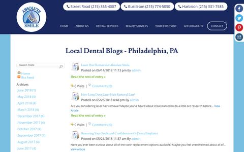 Screenshot of Blog myabsolutesmile.com - Dental Blog - Philadelphia, PA - Absolute Smile - Dentist : Absolute - captured July 2, 2018
