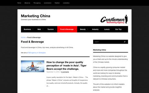 Food & Beverage in China - F&B - Tips and market analysis