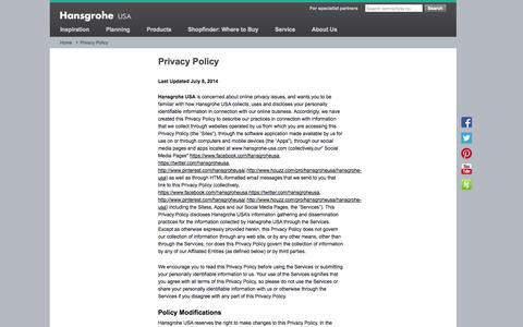 Screenshot of Privacy Page hansgrohe-usa.com - Privacy Policy    Hansgrohe US - captured Oct. 31, 2014
