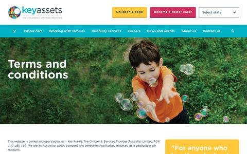Screenshot of Terms Page keyassets.com.au - Our Terms & Conditions - Key Assets Australia - captured Oct. 15, 2018