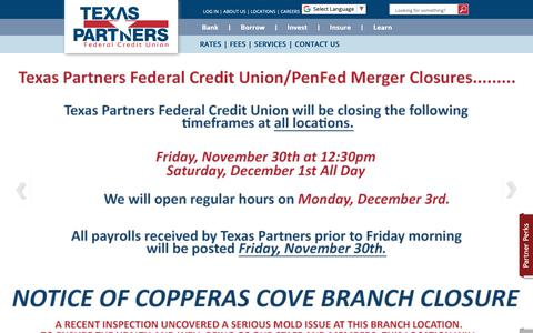 Screenshot of Press Page texaspartnersfcu.org - Media Contact - captured Nov. 26, 2018