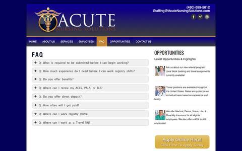 Screenshot of FAQ Page acutenursingsolutions.com - FAQ - Acute Nursing SolutionsAcute Nursing Solutions - captured Nov. 20, 2016
