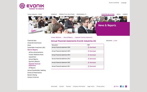 Separate financial statements - Evonik Industries - Specialty Chemicals