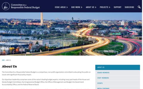 Screenshot of About Page crfb.org - About Us | Committee for a Responsible Federal Budget - captured Nov. 9, 2016