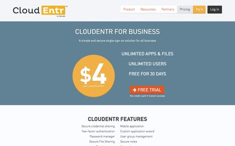 Screenshot of Pricing Page cloudentr.com - Pricing — CloudEntr - captured Sept. 13, 2014