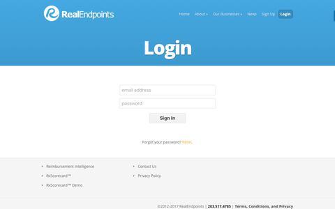 Screenshot of Login Page realendpoints.com - Login | RealEndpoints - captured Dec. 31, 2017