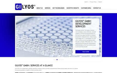 Screenshot of Home Page gilyos.com - GILYOS GmbH - contract service provider in the field of freeze-drying - captured Sept. 25, 2018