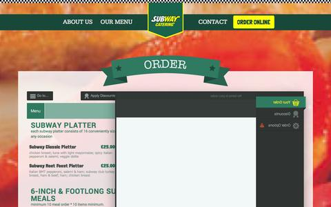 Screenshot of Menu Page subwaycatering.ie - Order » Subway Catering, Dublin - captured Oct. 6, 2014