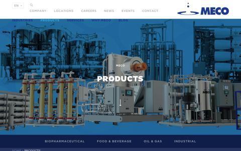 Screenshot of Products Page meco.com - Pure Water & Pure Steam for Marine Oil & Gas Industry - captured July 26, 2018