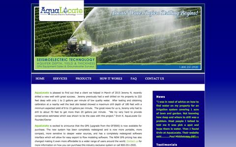 Screenshot of Press Page aqualocate.com - News Find Well Water   Well Drilling Help   AquaLocate   Seismo Electric - captured Feb. 6, 2016