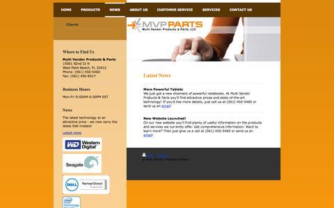 Screenshot of Press Page mvppartsonline.com - Multi Vendor Products & Parts MVP Parts - News - captured Nov. 2, 2014