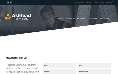 Screenshot of Signup Page ashtead-technology.com - Sign Up for our Newsletter | Ashtead Technology - captured Sept. 10, 2019