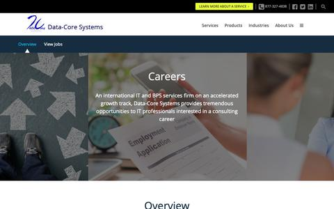 Screenshot of Jobs Page datacoresystems.com - Data-Core Systems | Careers - captured Sept. 29, 2018