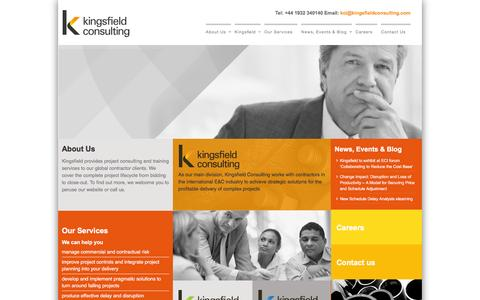Screenshot of Home Page kingsfieldconsulting.com - Contract, Claim, Risk Management | Contract Claim Management Training - Kingsfield Consulting - captured Jan. 9, 2016