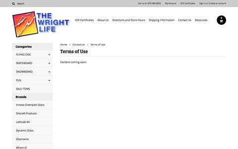 Screenshot of Terms Page wrightlife.com - Terms of Use - captured Dec. 23, 2016