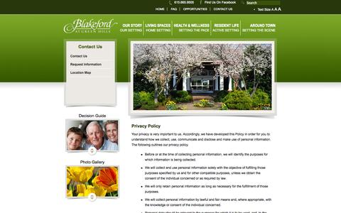 Screenshot of Privacy Page blakeford.com - Privacy Policy | Blakeford at Green Hills - captured Sept. 30, 2014