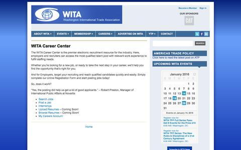 Screenshot of Jobs Page wita.org - WITA Career Center | Washington International Trade Association (WITA) - captured Jan. 11, 2016