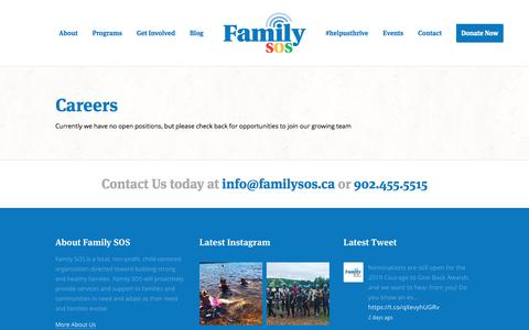 Screenshot of Jobs Page familysos.ca - Careers — Family SOS :: A local non-profit, child-centered organization - captured Aug. 12, 2018