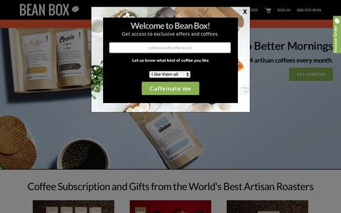 Screenshot of Home Page beanbox.co - Bean Box® Coffee Subscription and Coffee Gifts - captured Oct. 24, 2018