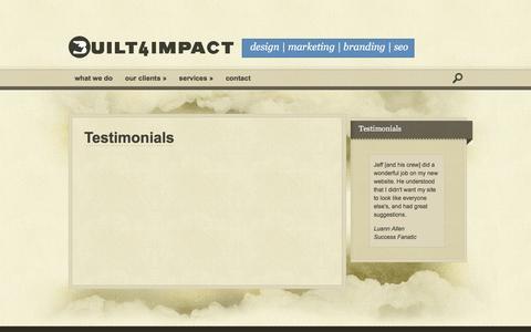 Screenshot of Testimonials Page built4impact.com - Testimonials | Built For Impact - captured Feb. 8, 2016
