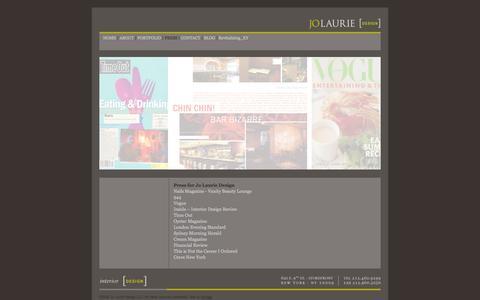 Screenshot of Press Page jolauriedesign.com - .: Jo Laurie Design :. - captured Oct. 6, 2014