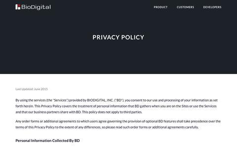Screenshot of Privacy Page biodigital.com - BioDigital: 3D Human Visualization Platform for Anatomy and Disease - captured Oct. 9, 2017