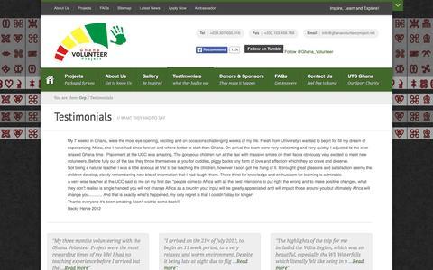 Screenshot of Testimonials Page ghanavolunteerproject.net - Ghana Volunteer Project - Testimonials - captured Dec. 9, 2015