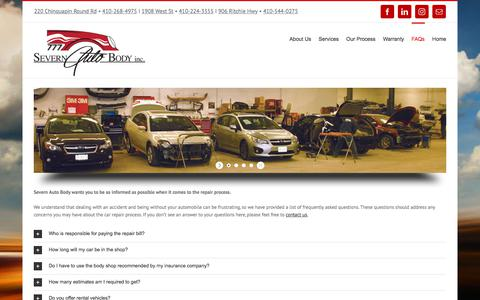Screenshot of FAQ Page severnautobody.com - FAQs – Severn Auto Body - captured Sept. 20, 2018