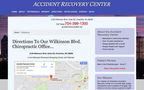 Screenshot of Maps & Directions Page charlotte-chiropractic.com - Directions to Accident Recovery Center | Charlotte NC - captured Oct. 7, 2017
