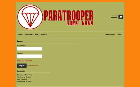 Screenshot of Login Page paratrooperarmynavy.com - Account – Paratrooper Army Navy - captured Sept. 29, 2014