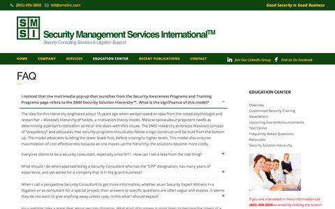 Screenshot of FAQ Page smsiinc.com - Security Expert Witness, Security Consultant, Hospital Security - FAQ - - captured Sept. 30, 2017