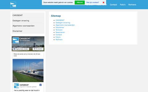 Screenshot of Site Map Page car2boat.nl - Uw auto al geparkeerd, in de haven waar u afmeert! - Sitemap - captured Sept. 26, 2018