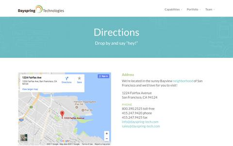 Screenshot of Maps & Directions Page dayspring-tech.com - Directions | Dayspring Technologies - captured Oct. 12, 2017