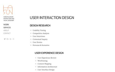 Screenshot of Services Page harun.it - Harun Alikadic - Interaction Graphic UI UX Designer - Services - captured Nov. 14, 2018