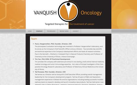 Screenshot of Team Page vanquishoncology.com - Team | Vanquish Oncology - captured Sept. 17, 2014